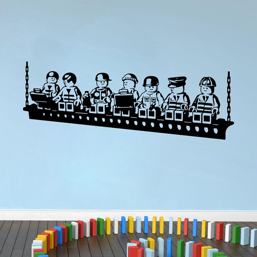 Funny cartoon robots lego wall sticker vinyl wall stickers for kids room boys room art decals baby bedroom decor y170801 white vinyl wall decals white wall