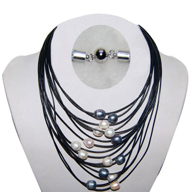 17-24 inches 15 Rows Customized Black Women Natural Multicolor Oval Pearl Leather Necklace