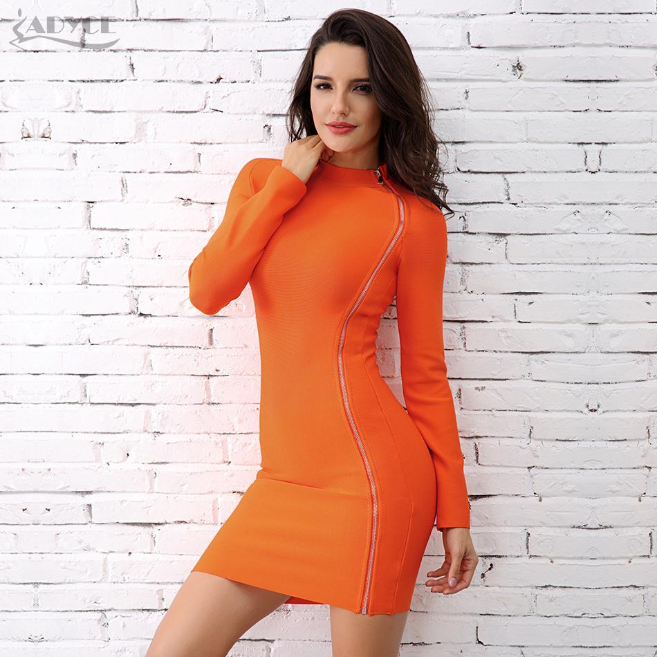 2018 Adyce 2017 Chic Winter Bandage Dress Fashion Orange Turtleneck ...