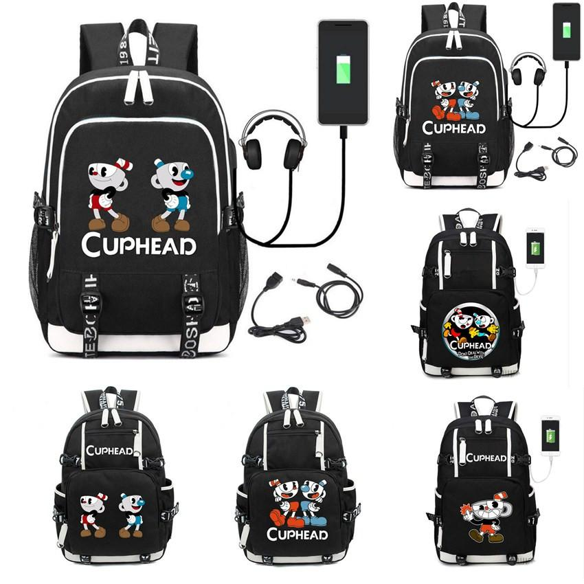 Teenager Girl Boys Cuphead Mugman Mochila Students USB Charge Backpack  Shoulder Bag Travel School Bag Casual Laptop Bagpack Justice Backpacks  Camping ... e611ea15a4ef2