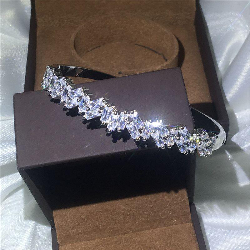 Vecalon Romantic Jewelry 5A cubic zirconia Engagement Baguette bracelet White Gold Filled cuff bangle women Wedding accessaries
