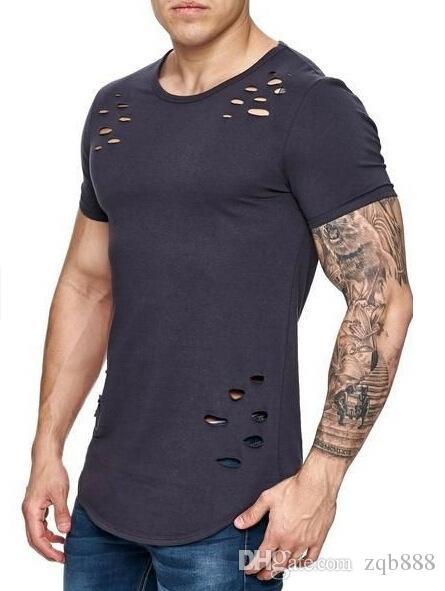 T-shirt de couleur pure et pure de 2018 nouveaux hommes trou Big Code, Mn et les femmes du même style
