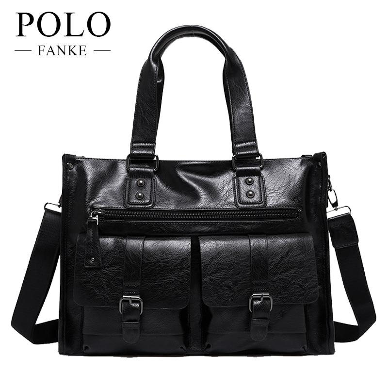 FANKE POLO PU Leather Men Crossbody Shoulder Bags Business Handbags ... aac425b14d471