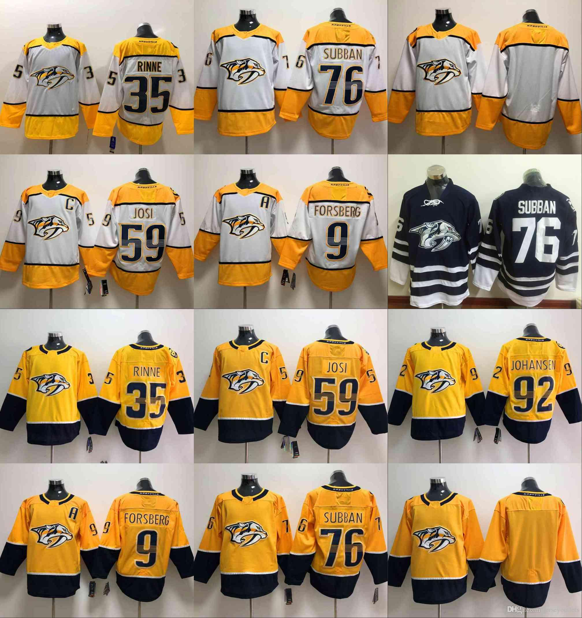 new arrival 3e958 1355b 2017 Nashville Predators 76 P.K Subban 35 Pekka Rinne Jersey 92 Ryan  Johansen 59 Roman Josi 9 Filip Forsberg Hockey Jerseys stitched