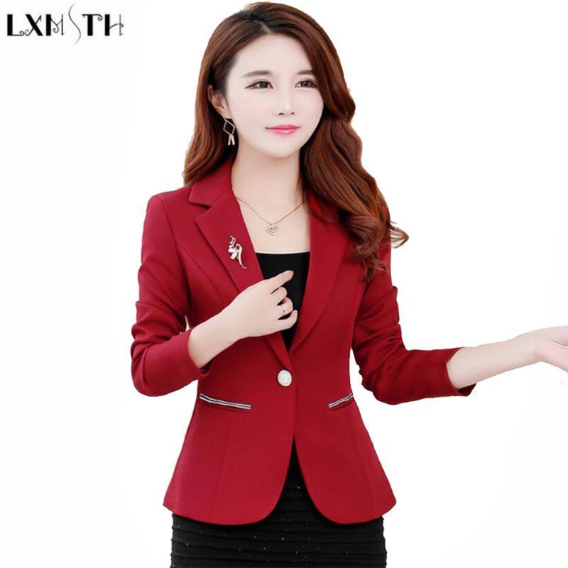 67171302bc21a4 LXMSTH Outono Coreano Formal Mulheres Blazers e Jaquetas Manga Longa Sólida  Fino Senhoras Curto Terno Casaco jaqueta Plus Size Blazer Trabalho
