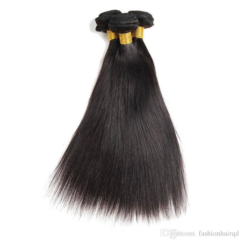 Peruvian Straight Hair Bundles 8A Grade Unprocessed Virgin Human Hair Weaves Double Weft Extensions Natural Color 8-30 inch Or