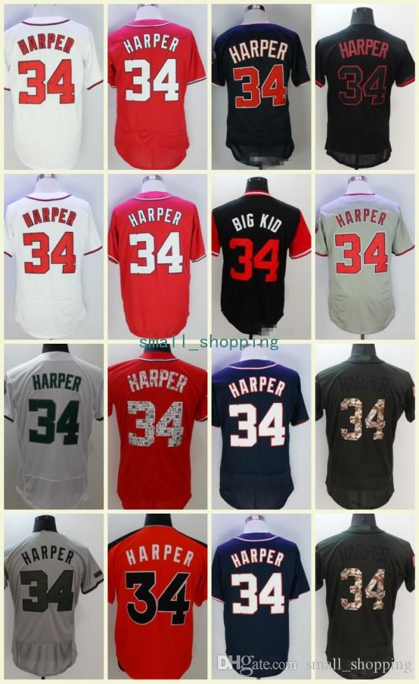 quality design 16585 e4d39 Washington 34 Bryce Harper Jersey Cool Base Fathers Day Players Weekend  Nicknames All-Star Game Memorial Day Mother Day Kids Baseball Jersey