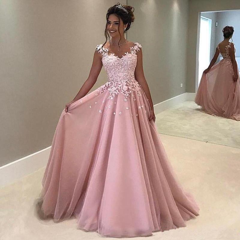 Günstige Rosa Tüll Prom Kleider Lange Spitze Appliqued Plus Size Abendkleid Sexy V-Ausschnitt Partykleid