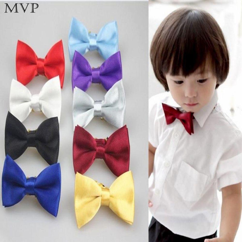 Infant Toddler Boy Adjustable Satin Burgundy Bow tie 4color Formal Tuxedo Suit