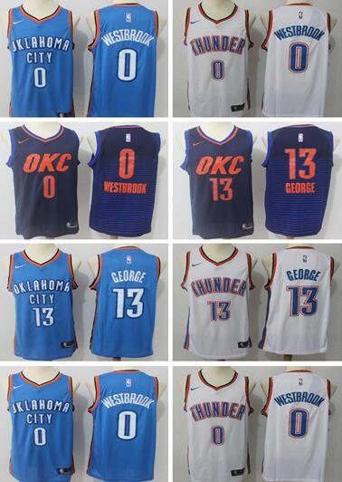 92dfa2c75cc ... ireland 2018 2019 new mens oklahoma city 13 paul george 0 russell  westbrook basketball jersey embroidery