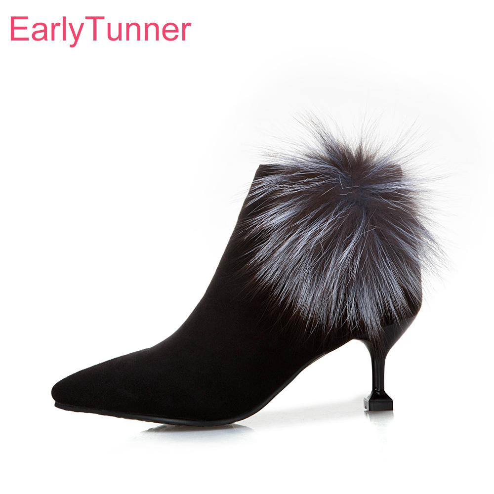 3439463a42a Brand New Winter Glamour Fox Fur Black Women Ankle Boots Sexy High Heels  Lady Party Shoes EP95 Plus Big Small Size 10 31 45 47 Boots For Men Girls  Boots ...