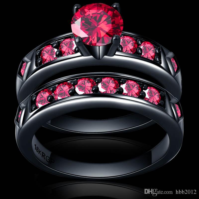 Anillo Rojo Brillante Granate Rojo Mujeres Encanto joyería de la boda Anillo de pareja de Oro Negro Llena conjunto Bijoux Femme masculino