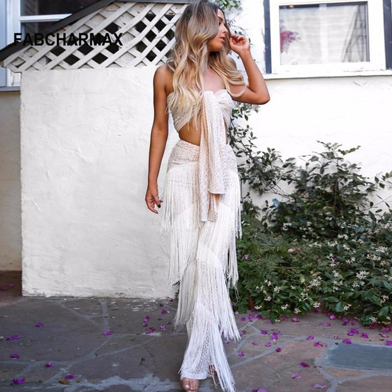 e1c56345df4a 2019 White Black Fringe Lace Sexy Rompers Womens Jumpsuit Strapless Front  Tie Tube Top Sleeveless Club Jumpsuit Tassel Overalls Women From Cety