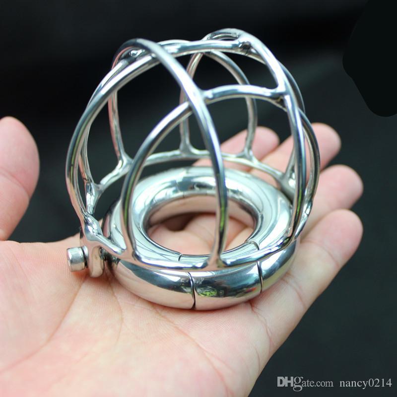 Ciondolo in Scroto Gabbia in acciaio inox Gabbia in metallo Chiusura a gabbia metallica Dispositivi di schiavitù maschile Giocattoli sessuali B2-2-100
