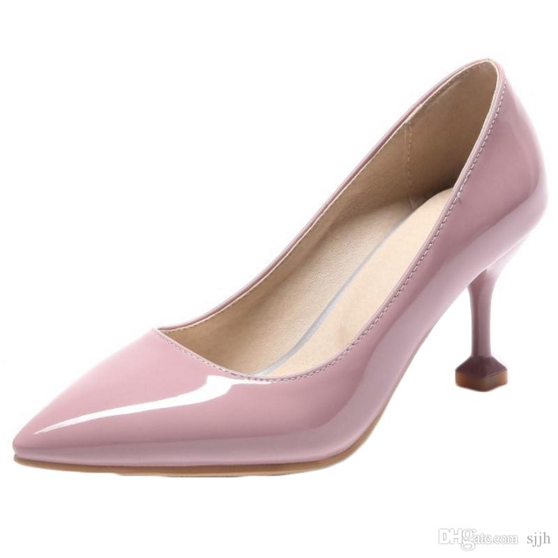 SJJH 2018 Patent Leather Pumps with Pointed Toe and Stiletto Elegant Working Dressy Shoes for Fashion Women with Large Size Available A263