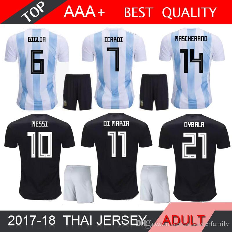 c8dd0aa2fe4 2019 Argentina Messi World Cup Away Black Soccer Jersey MEN BIGLIA ICARDI  Agüero ADULT Kit DI MARIA 2019 Home Shorts Jerseys From  Sports_soccerfamily, ...