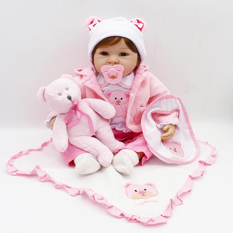 55cm Silicone Reborn Baby Doll Toys With Bear Pacifier Luxury Accessories Princess Dolls Lovely Birthday Gift Girls Brinquedos Miniature Black