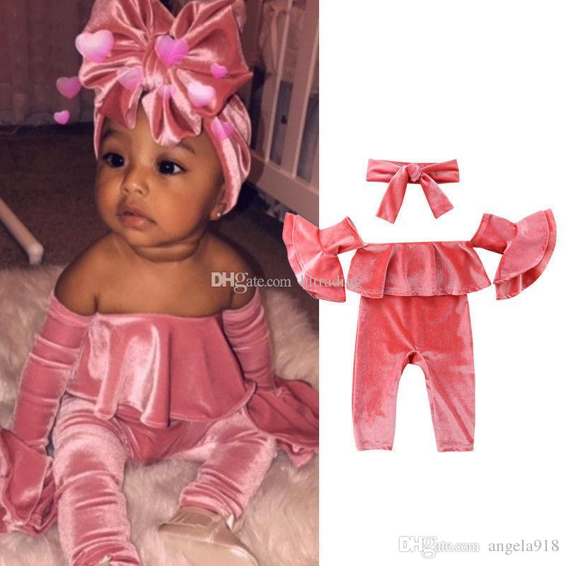 0fd0781baea 2019 Baby Girls Gold Velvet Romper Infant Ruffle Sleeves Shoulderless  Jumpsuits Fashion Boutique Kids Climbing Clothes With Headband C5526 From  Angela918