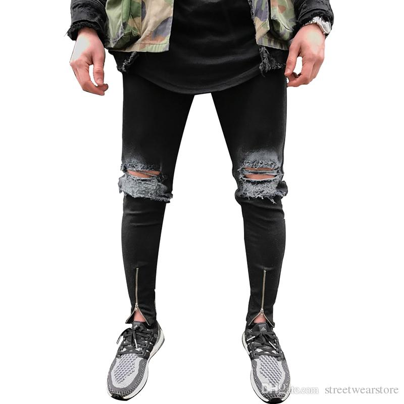 f4040c764beb1 Ankle Zipper Design Hi-Street Mens Black Ripped Jeans Men Fashion Male  Distressed Skinny Jeans Destroyed Denim Jeans Trousers Online with   34.74 Piece on ...