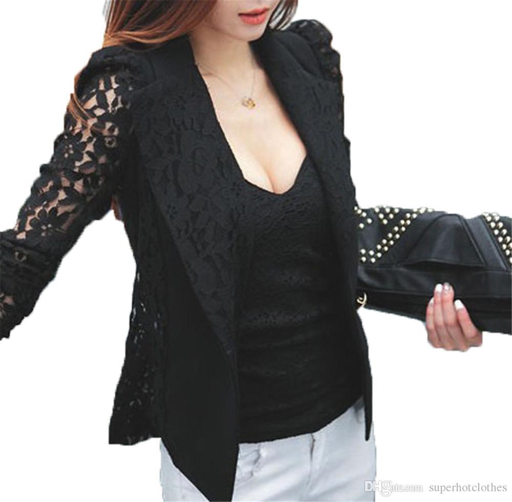 925c54e9f01a9 Acheter Windreama Plus Size Manteau Sexy Dentelle Blazer Feminino Lady  Costume Outwear Femmes Blazers Et Vestes Formelle Slim Veste Noir Blanc De  $15.08 Du ...