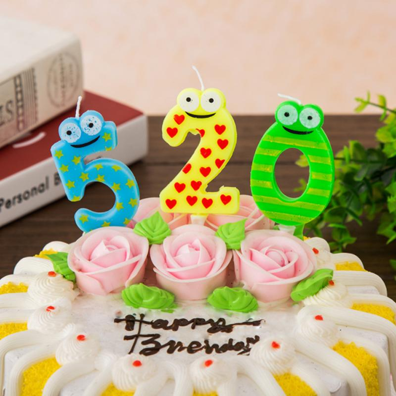 2018 Cartoon Frog Birthday Candles Number Cake Cupcake Topper Party