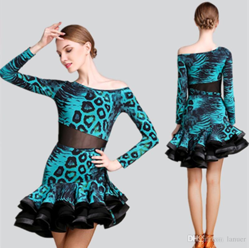 6c99f66d34aa1 ... Filles Robe De Danse Latine Salsa Tango Chacha Compétition De Salle De  Concours Pratique Robe De Danse À Manches Longues Leopard Jupe Costume 3  Couleur ...