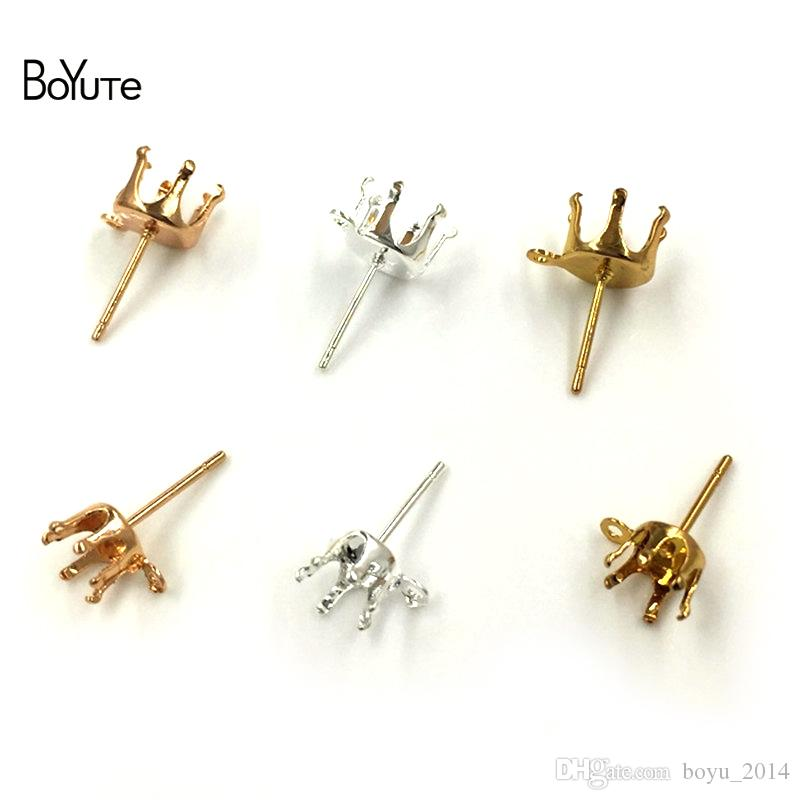 BoYuTe Fit 6MM 8MM Zircon Stone Stud Earrings Base with Loop Silver Gold Earring Fingings Diy Jewelry Accessories
