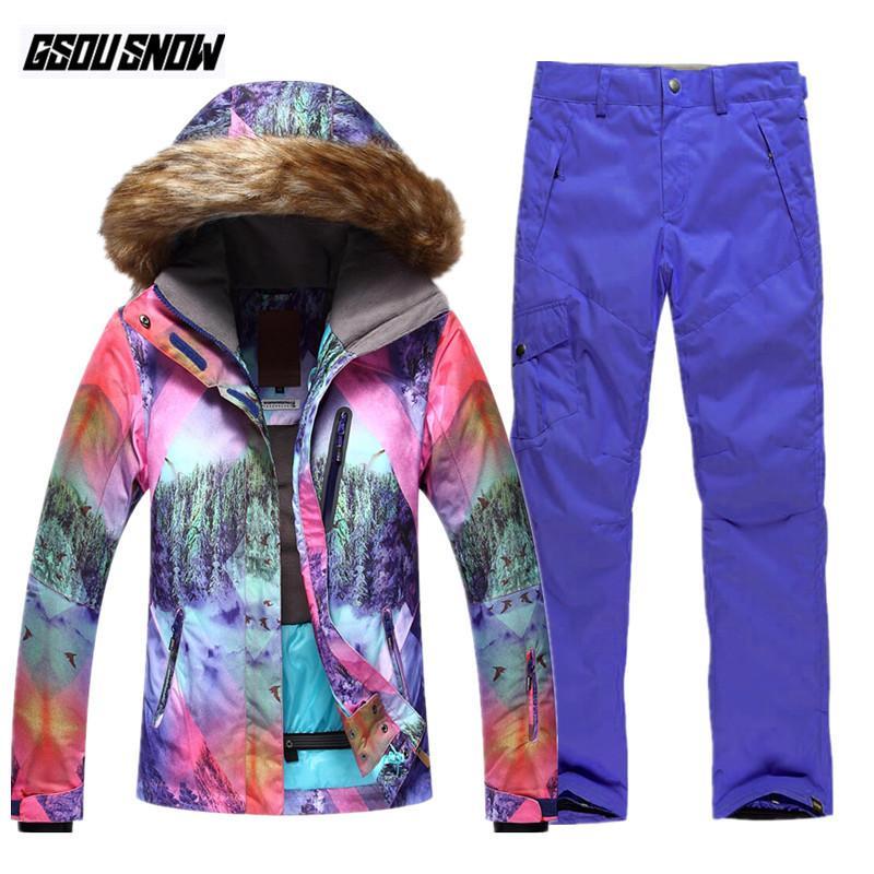 Compre GSOU SNOW Marca Ski Suit Mujeres Snowboard Chaquetas Pantalones De Esquí  Invierno Ropa Impermeable De Nieve Mujer Deportes Al Aire Libre Warm Coats  A ... 2223738354b