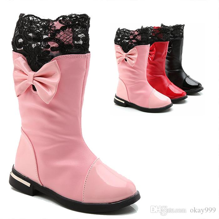 d5d4f4f51a Girl Boots Autumn Winter Booties New Child Leather Boots Plus Velvet Medium  And Long Tube Princess Winter Boots 2 16 Years Little Girl Cowboy Boots  Cowboy ...