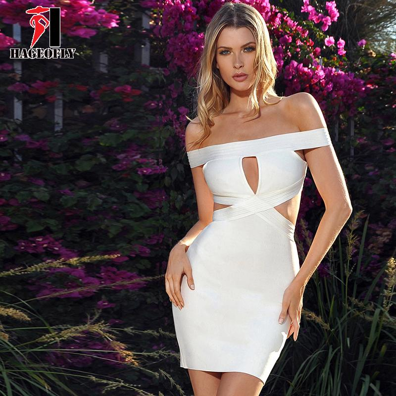 9ac4de6a38a98 2019 HAGEOFLY Celebrity Runway Bandage Dress Rayon Women White Dress Sexy  Hollow Out Mini Vestidos Verano 2018 Bodycon Party Dresses From Bida Amy,  ...