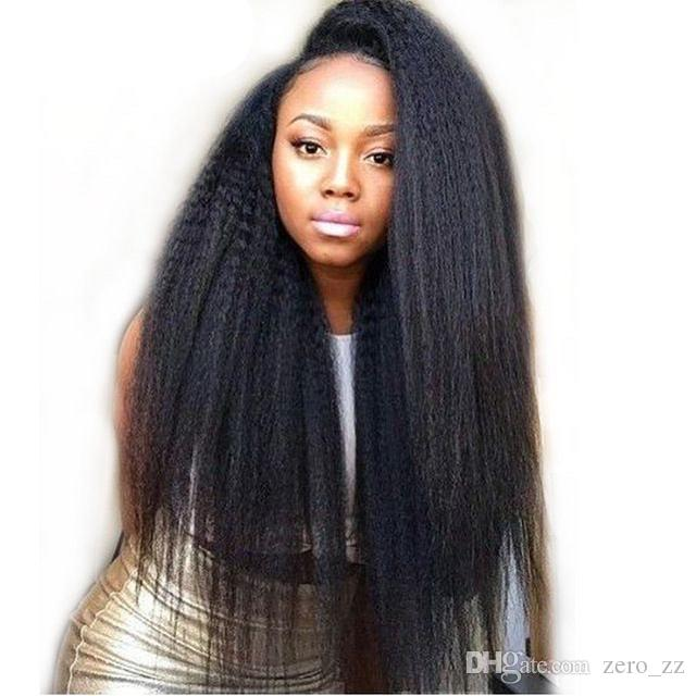 Hot sale Peruvian Lace Front Human Hair Wigs Kinky Straight Lace Wig Glueless Full Lace Human Hair Wigs For Black Women