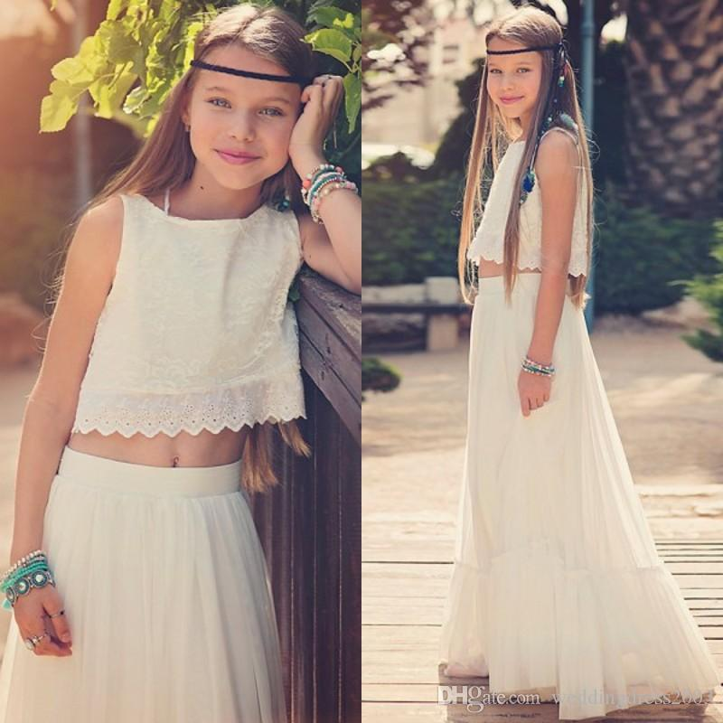 5d99ea6fd0 New Arrival 2018 Boho Flower Girls Dresses Jewel Neck A Line Light  Champagne Lace And Chiffon Girls Boho Wedding Dresses Dress Flower Girl  Dresses For ...