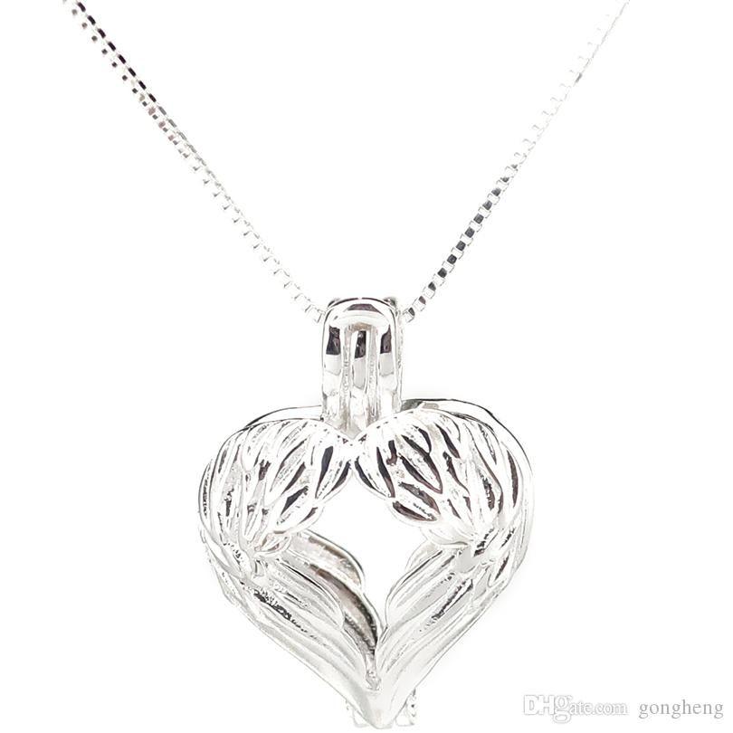 935f7610a4ea7 925 Sterling Silver Pick a Pearl Cage Feather Wing Heart Beauty Locket  Pendant Necklace Boutique Lady Gift K988