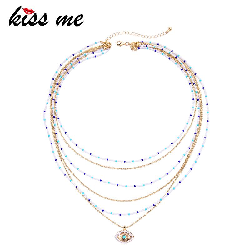 KISS ME Multi Layers Necklace Bohemian Trendy Acrylic Beads Eye Choker Necklace Ethnic Style Maxi Jewelry Women Accessories