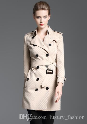 Neues Design! Frauenart und weise England-langer Artwinter-Trenchcoat / Markenentwerfer kleiner Schecker dünner Sitzgraben für Frauen Größe S-XXL B8358F340