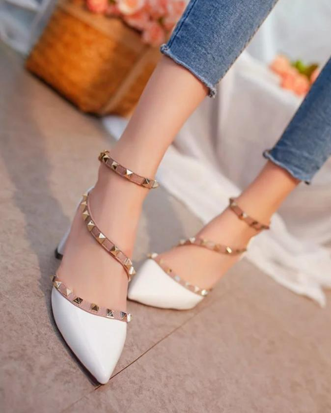 c31e17b101d European And American Rivets Pointed High Heels with Single Shoes ...