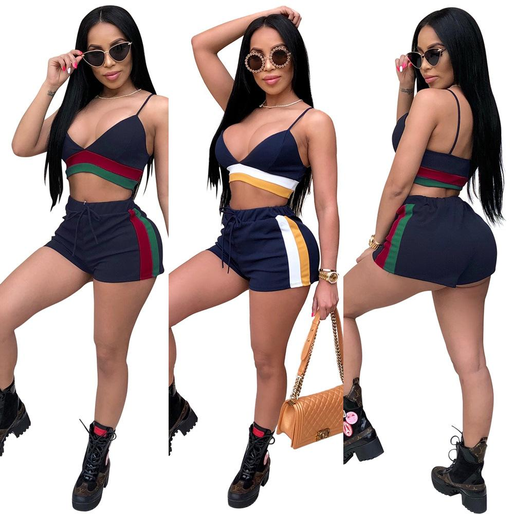e34c0b0d8b 2019 2018 Women Sexy Stripes Print Shorts Set Stretch Deep V Neck Crop  Sleeveless Top Lace Up Shorts Two Piece Outfits Sports Tracksuit From  Hengytrade, ...
