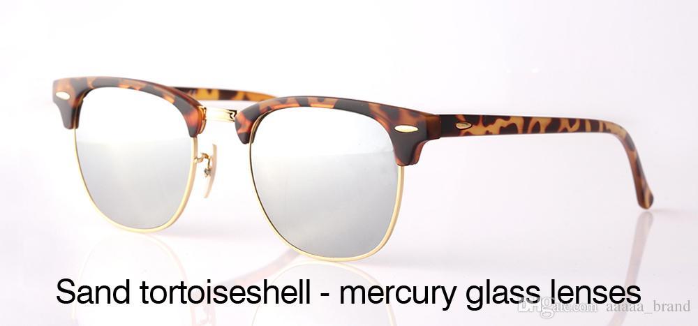 Choose Brand Designer Cat Eye Sunglasses Men Women Semi Rimless Sun Glasses plank frame  glass lenses  With Retail box and label