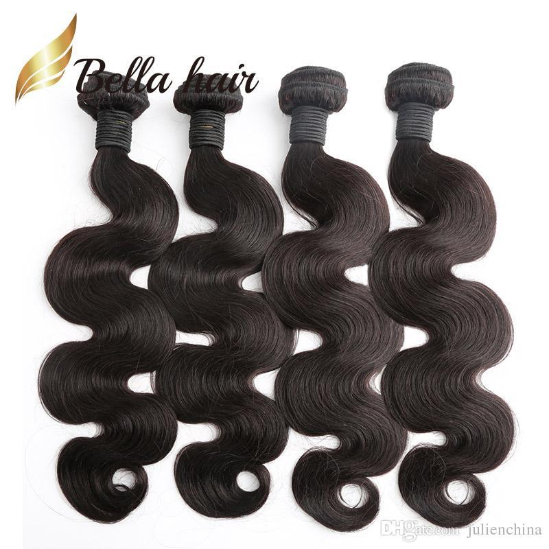 Bella Hair® Najtańsze 4 sztuk / partia Ciało Fala Brazylijski Hair Extensions 7a Human Hair Weaving Soft Donor Hair Paundles U.S. Darmowa wysyłka