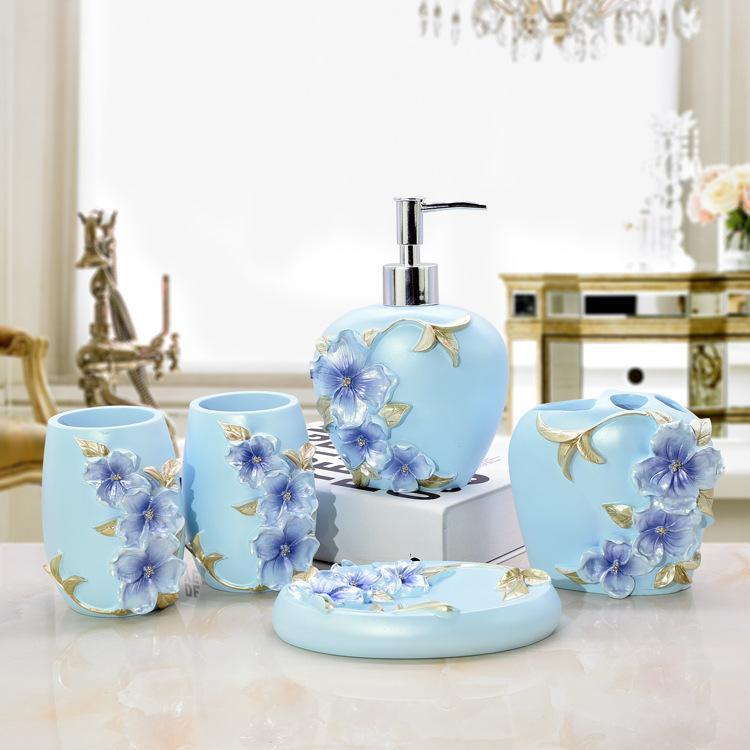 Großhandel 3D Blaue Blumen Bad Seifenspender Zahnbürste Zubehör ...