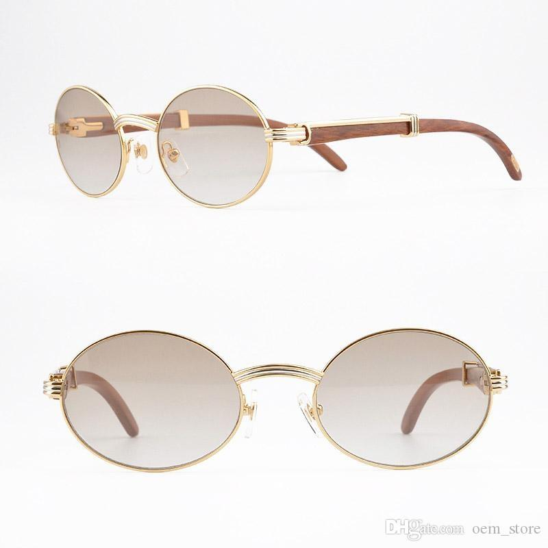 2018 New Luxury Brand 18k Gold Sunglasses Metal Frames Real Wooden ...