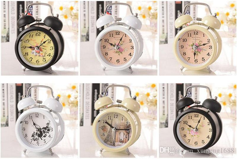 Mix Random Color Classic Alarm Clock Round Number Double Bell Desk Table Clock - Household Retro Home Decor