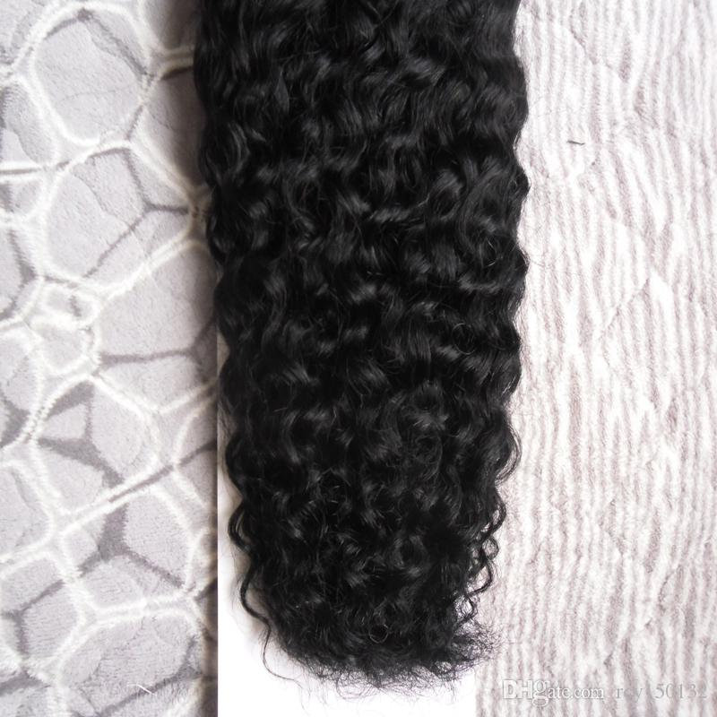 Kinky Curly Remy Hair Loop Micro Ring Extensión del cabello humano natural 100G 1G / Strands Micro Bead Hair