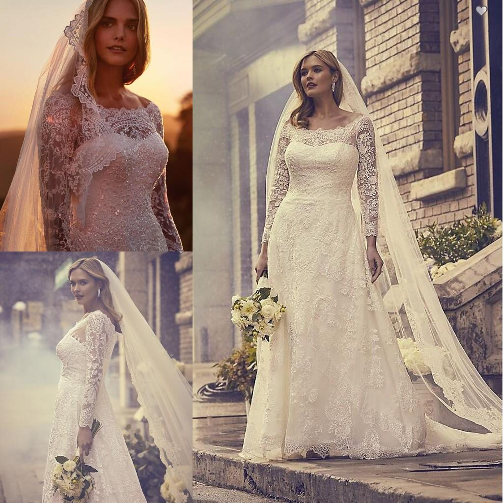 Vestidos Sheer Neck Bohemia Wedding Dresses With Long Sleeves Beaded Lace Formal Bridal Dresses Custom Made Zipper Up Back Wedding Gowns