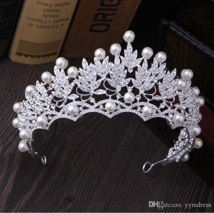 Luxe Couronne De Mariée Strass Perles Cristaux Royal Mariage Reine Couronnes Princesse Cristal Baroque Fête D'anniversaire Diadème Pour La Mariée Douce 16