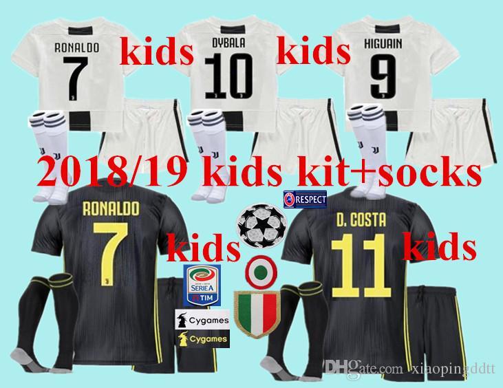 f3cc4e71f 18 19 Best Kids Home Away Ronaldo Soccer Jersey Kits +socks 2019 ...