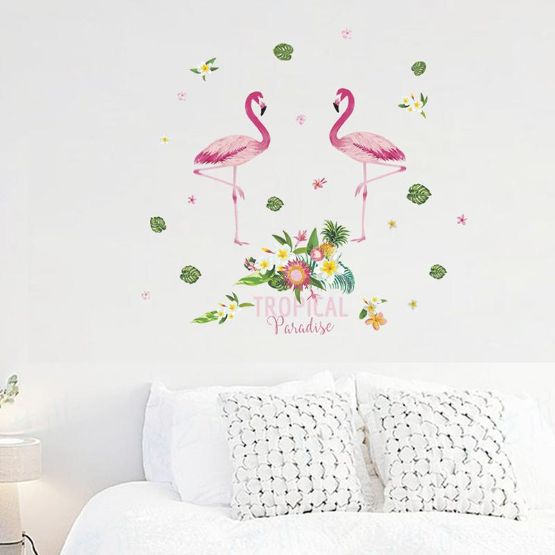 Acquista Flamingo Con Fiore Adesivi Murali Ufficio Soggiorno Camera ...