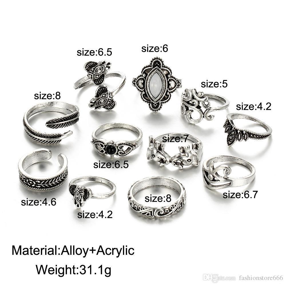 Горячие совместные кольца 11 шт. / компл. Европейский и американский ретро резной слон лист шаблон кольцо 11 шт. женский полые бриллиантовое кольцо