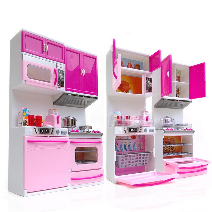 Kids Kitchen Toy For Girl Children Toys Plastic Educational Pretend Toys Led Light Sound Stove Oven Cute Pink Toy Cocina Juguete