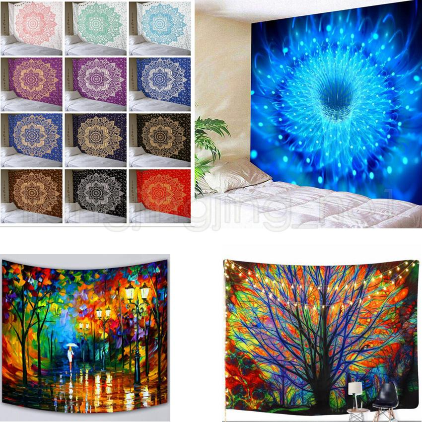 200*150cmTree Flower Tapestry Wall Hanging Forest With Birds Bohemian Hippie Tapestry For Bedroom Living Room Yoga Mat blanket GGA533 10pcs